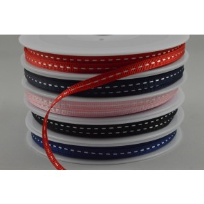 55045 - 5mm White Centre Stitched Grosgrain Ribbon x 20 Metre Rolls!