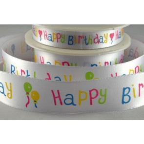 54014 - 15mm & 25mm Happy Birthday Printed Ribbon (20 Metres)