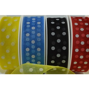 55001 - 10mm & 25mm Organza Spotted Dot Ribbon (20 Metres)