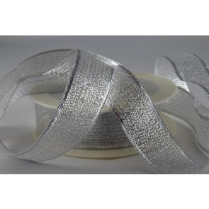 50019 - 40mm Silver Lurex Ribbon (25 Metres)