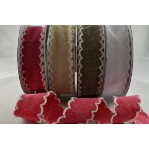 55020 - 25mm Coloured Scallop Ribbon with decorative Zigged Edge x 10 Metre Rolls!!