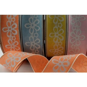 55022 - 25mm Flower Printed Ribbon x 20 Metre Rolls!!