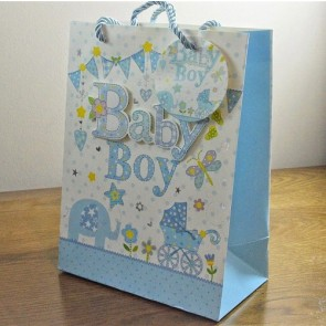 88118 - Medium & Large 3D Baby Boy Gift Bags & Tag!!