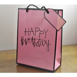 88126 - Medium & Large Pink Happy Birthday Gift Bags & Tag!!