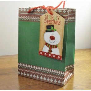 88121 - Medium & Large Green Merry Christmas Gift Bags & Snowman Tag!!