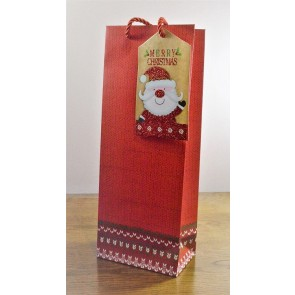 88122 - Red Merry Christmas Bottle Bag with Santa Tag!!