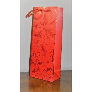 88123 - Red Merry Christmas Holly & Bauble Bottle Bag & Tag!!