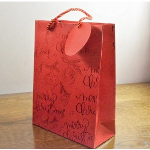 88123 - Medium or Large Red Merry Christmas Holly & Bauble Gift Bags