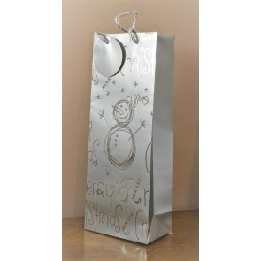88124 - Merry Christmas Silver Snowman Bottle Bag & Tag!!