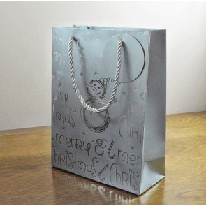 88124 - Merry Christmas Silver Snowman Gift Bags & Tag!!