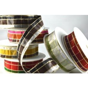 44000 - 15mm, 25mm & 40mm Regal Plaid (Wired) Ribbon x 3 Metre Rolls!!