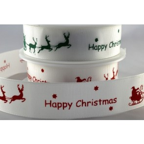 54591 - 10 & 25mm Happy Christmas Sleigh Ribbon (20 Metres)