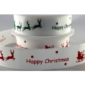 54591 - 10 & 25mm Happy Christmas Sleigh Ribbon (20 Metres)