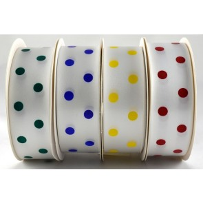 25mm White Printed Spotted Ribbon x 5 Metres!