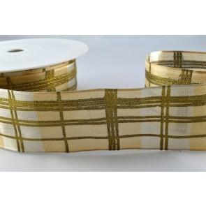 44314 - 40mm Gold Wired Printed Tartan Ribbon x 3 Metre Rolls!
