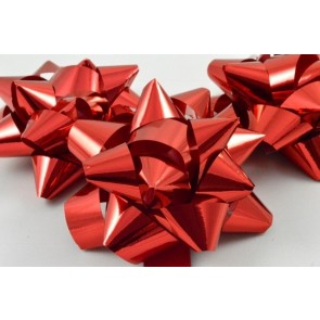 31160 - Red Gift Packs of 6 Metallic Bows with Self Adhesive Tab