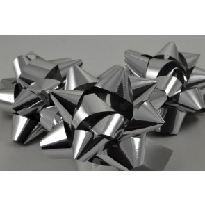 31160 - Silver Gift Packs of 6 Metallic Bows with Self Adhesive Tab