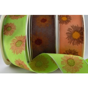 44552 - 40mm Coloured Printed Beautiful Flowers (20 Metres)
