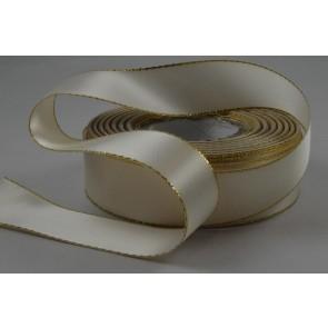 X59 - 25mm Cream Double Sided Satin Ribbon & Gold Lurex Edge x 20 Metre Rolls!