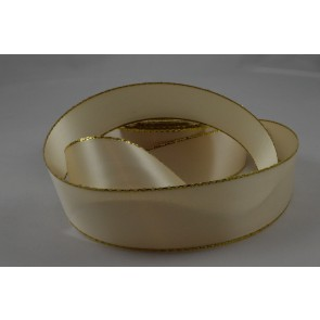 X61 - 30mm Cream Double Sided Satin Ribbon & Gold Lurex Edge x 20 Metre Rolls!
