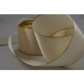 X71 - 50mm Cream Ribbon with a Gold Lurex Edge x 20 Metre Rolls!