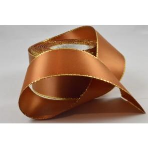 Y145 - 40mm Dark Gold Double Satin Ribbon & Gold Lurex Edging x 20 Metre Rolls!