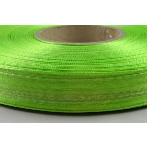 Y184 - 25mm Green Striped Sheer Ribbon with Swerves x 300 Metre Rolls!!