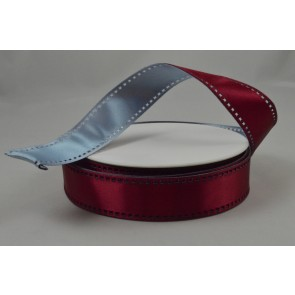 Y53 - 25mm Wired Burgundy & Baby Blue 50/50 Filmstrip Ribbon x 10 Metre Rolls!