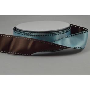 Y64 - 35mm Wired Brown & Baby Blue 50/50 Filmstrip Ribbon x 10 Metre Rolls!