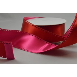 Y65 - 40mm Wired Pink & Red 50/50 Filmstrip Ribbon x 10 Metre Rolls!