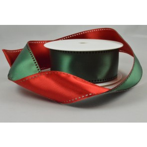Y68 - 40mm Wired Red & Green 50/50 Filmstrip Ribbon x 10 Metre Rolls!