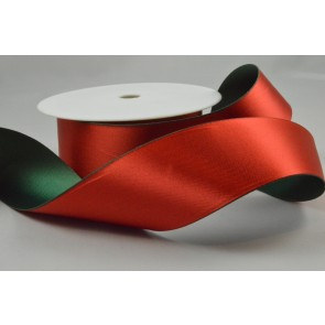 Y69 - 40mm Red & Green 50/50 Ribbon x 10 Metre Rolls!