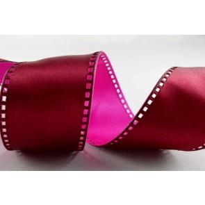 Y73 - 40mm Wired Pink & Burgundy 50/50 Filmstrip Ribbon x 10 Metre Rolls!