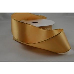 Y8 - 40mm Gold Double Sided Satin with Gold Lurex Edging x 20 Metre Rolls!