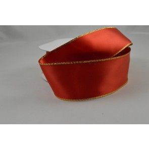 Y9 - 40mm Red Double Sided Satin with Gold Lurex Edging x 20 Metre Rolls!